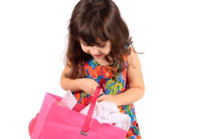 袋子礼品女孩查找 免版税库存照片