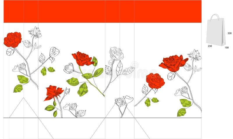 袋子礼品红色玫瑰 皇族释放例证