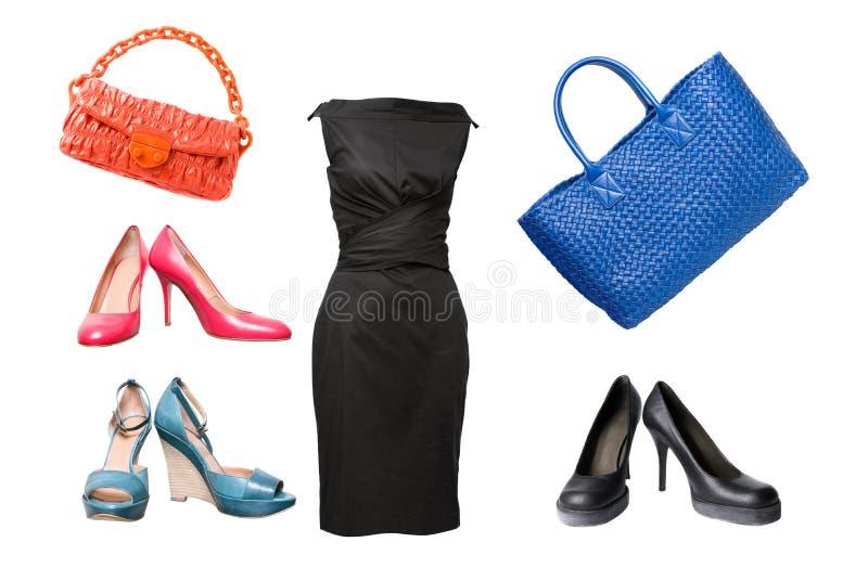 袋子礼服女性集合鞋子 库存照片
