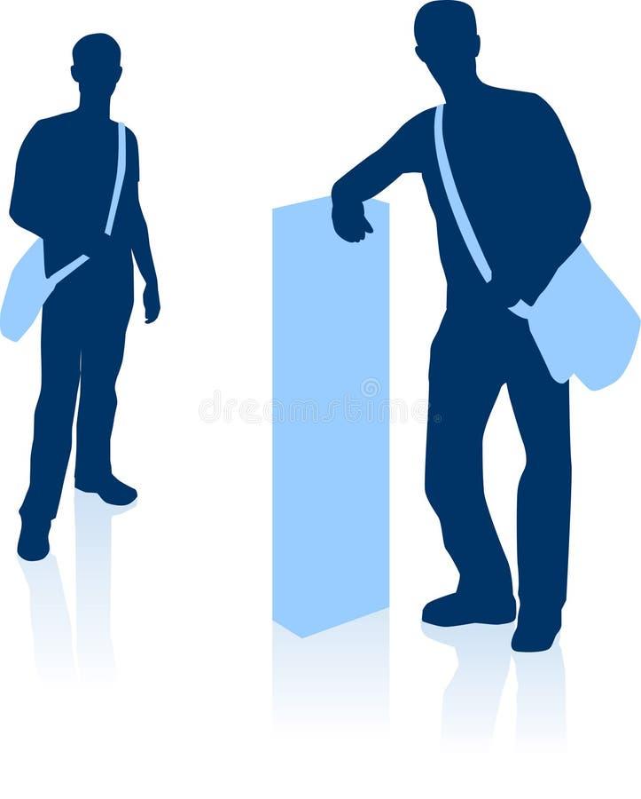 袋子粗呢英俊的人剪影年轻人 向量例证