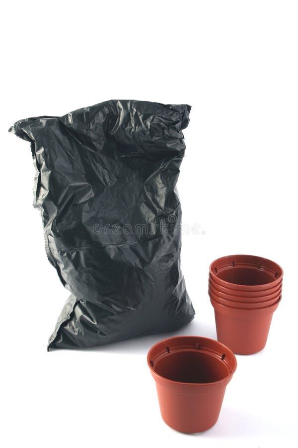 袋子罐土壤 免版税库存图片