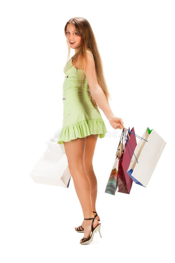 袋子美丽的女孩我购物 免版税库存图片