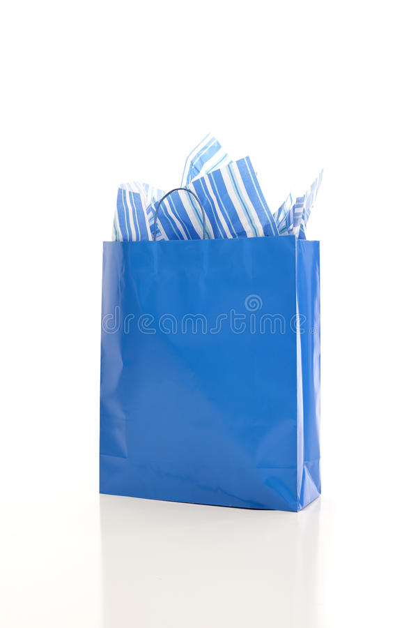 袋子蓝色购物 免版税库存图片