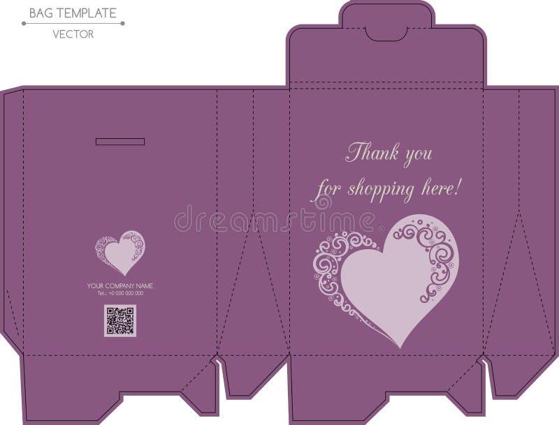 袋子设计,压凹凸印刷 库存例证