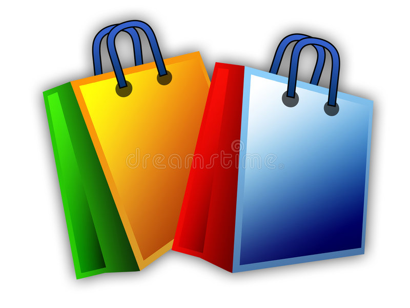 袋子购物的二 向量例证