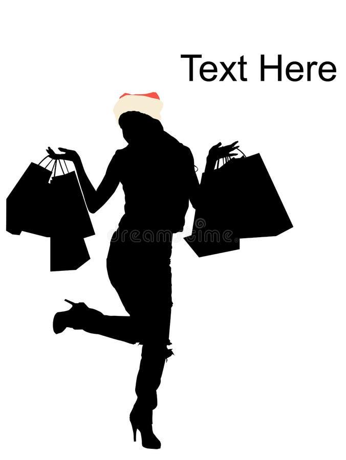 袋子购物的妇女年轻人 向量例证