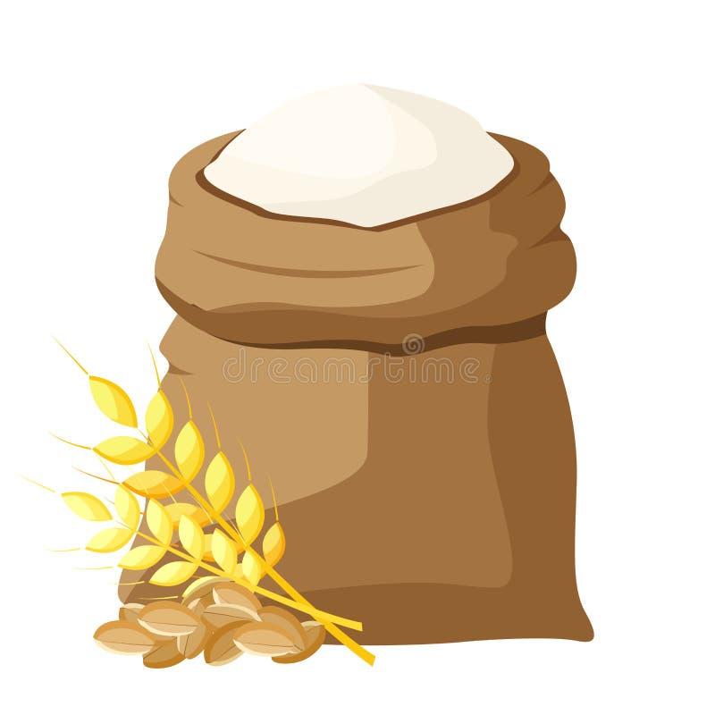 袋子面粉和铁锹,麦子,麦子的耳朵 向量例证