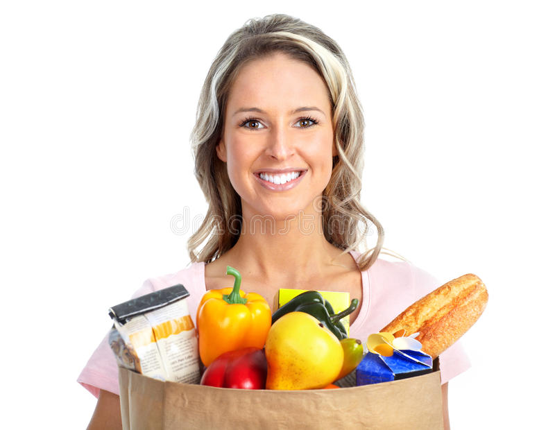 袋子食品购物妇女 库存照片