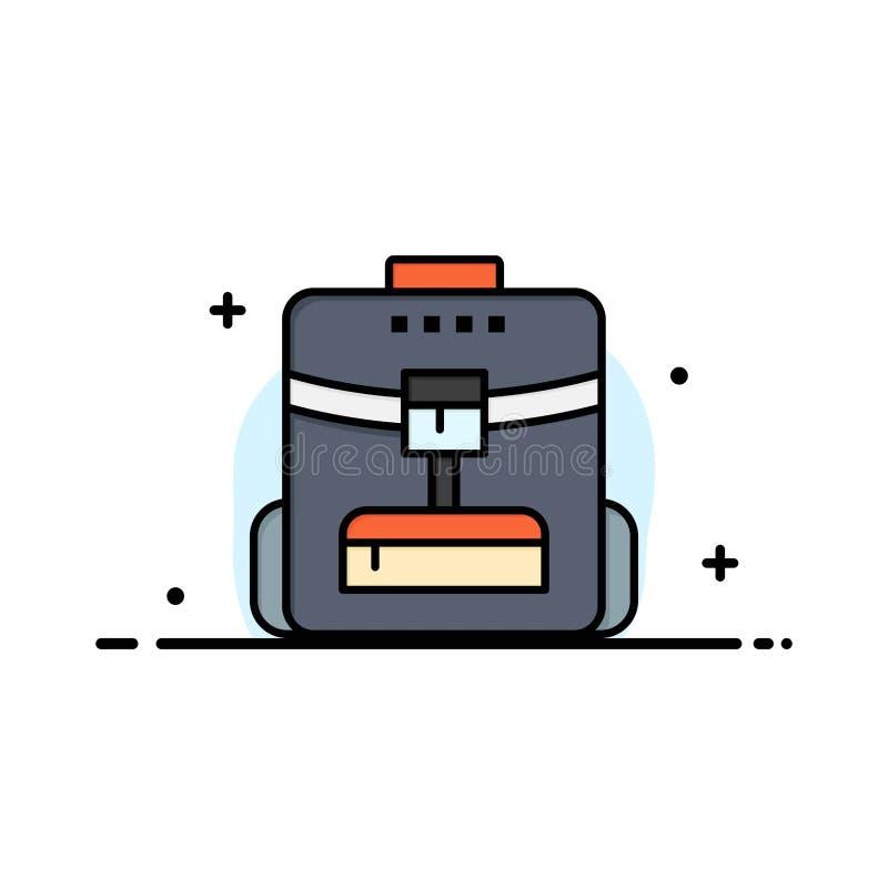袋子,后面袋子,学校,服务业平的线填装了象传染媒介横幅模板 向量例证