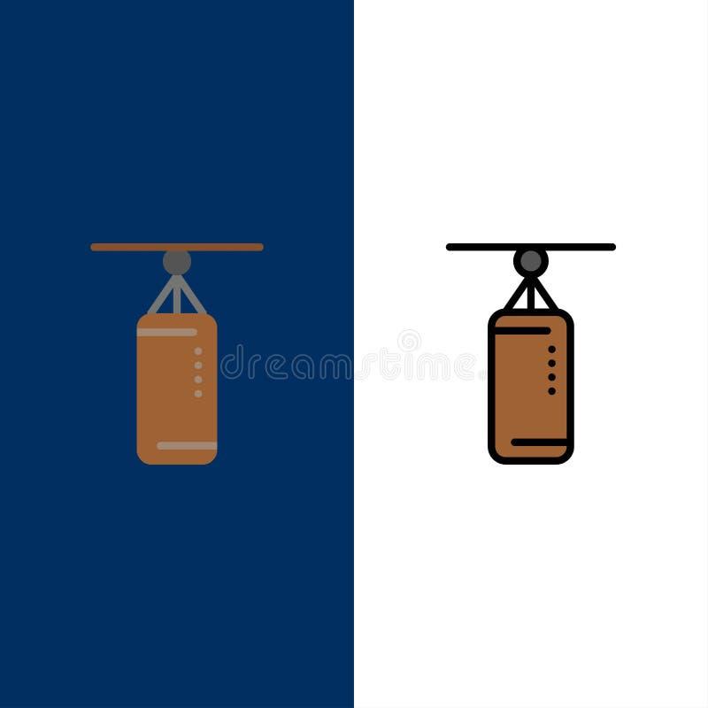 袋子,拳击,沙袋,猛击的象 舱内甲板和线被填装的象设置了传染媒介蓝色背景 皇族释放例证
