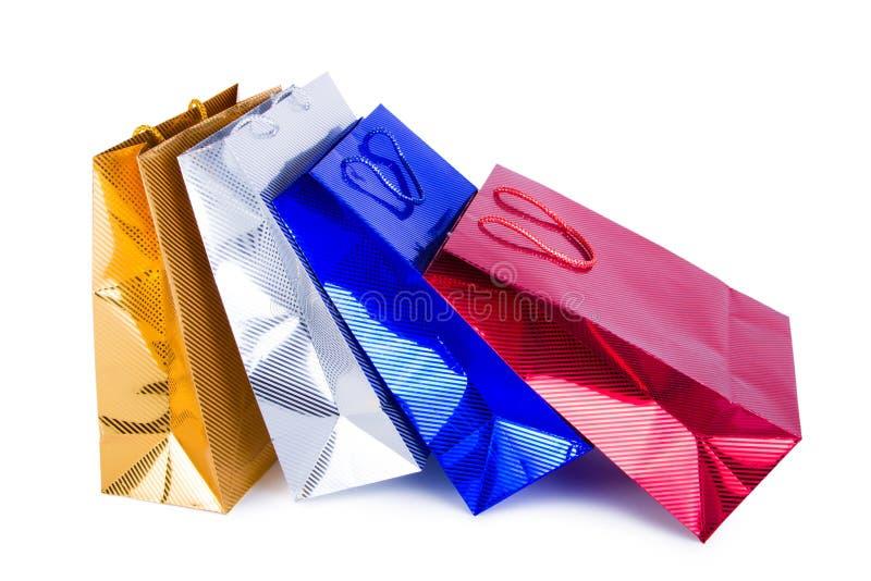 袋子购物的白色 免版税库存图片