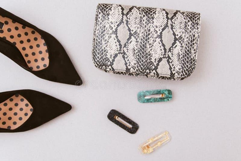 袋子snakeskin、簪子和黑鞋子在淡色米黄背景 图库摄影
