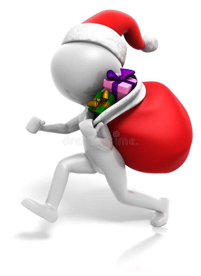 袋子stickman圣诞节的礼品 向量例证