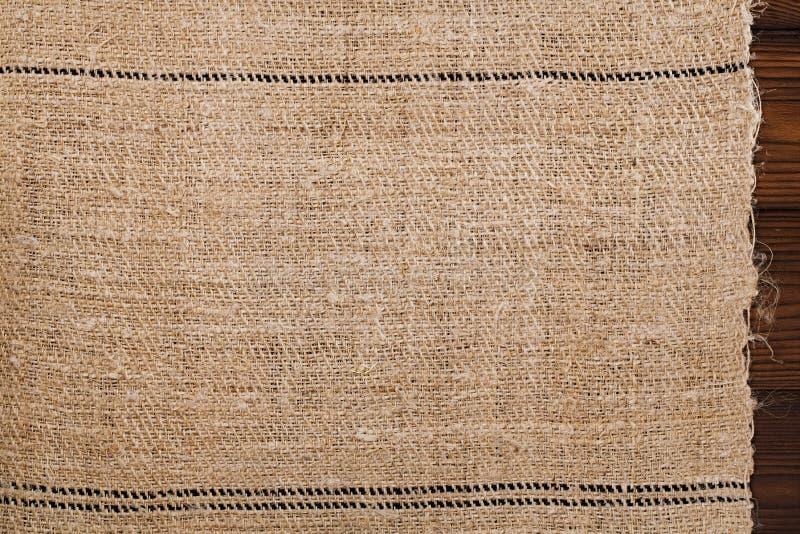 袋装亚麻布完全地手工制造手织的老五谷和家庭 库存照片