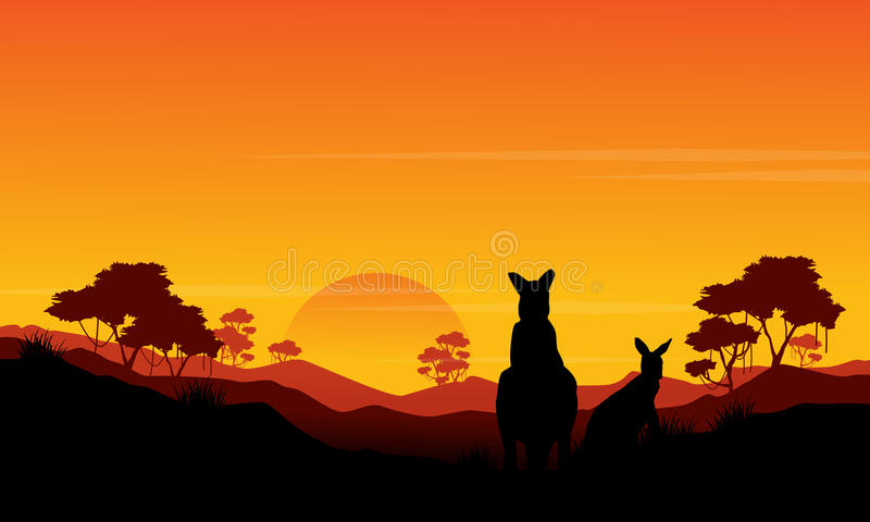 袋鼠st日落风景剪影  库存例证