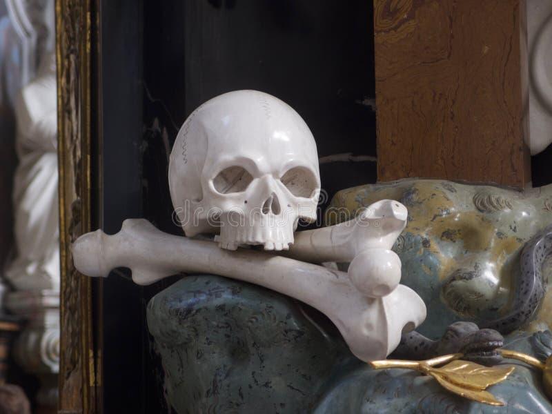 被上漆的白色头骨和骨头 免版税库存照片