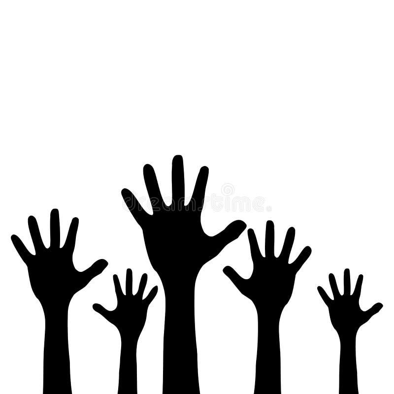 被举的儿童` s手 黑色剪影 背景查出的白色 向量 库存例证