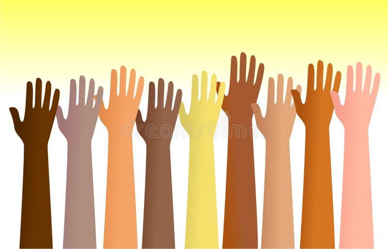 被举的手 向量例证