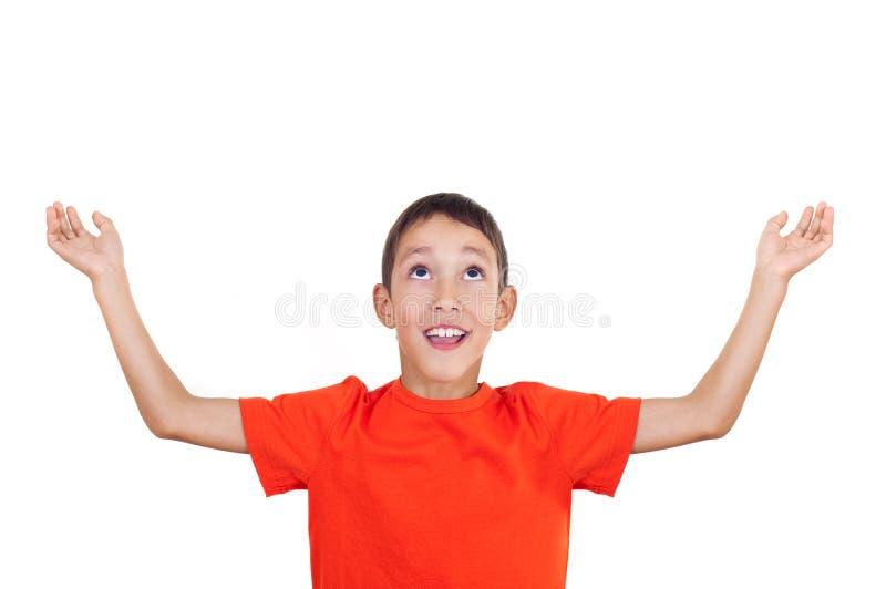 被举的男孩手 免版税库存图片