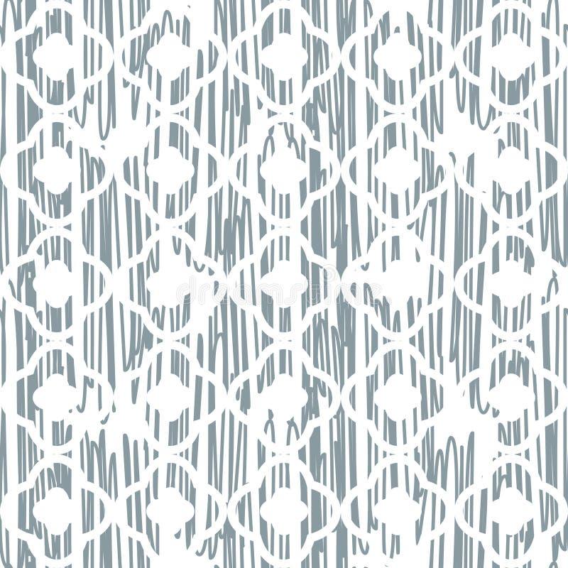 被乱写的纹理东方蓝色和白色概略的样式 向量例证