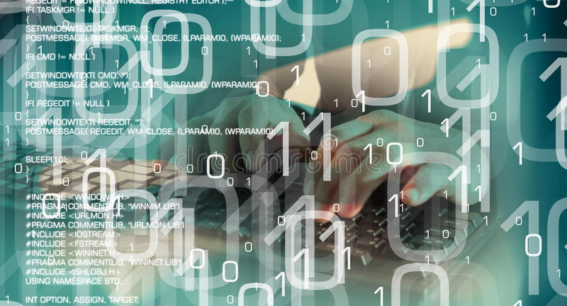 被乱砍的计算机,在网际空间的网络罪行 皇族释放例证