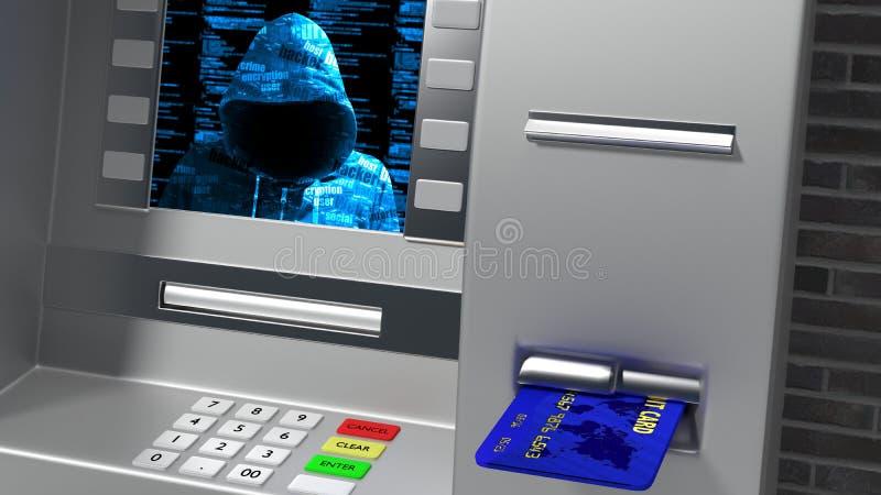 被乱砍的ATM,当插入显示hoody黑客时的信用卡 向量例证
