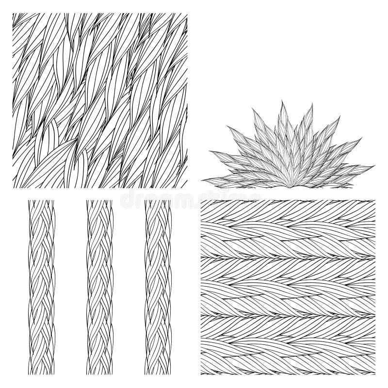 被交织的叶子和圆样式的无缝的传染媒介样式 库存例证