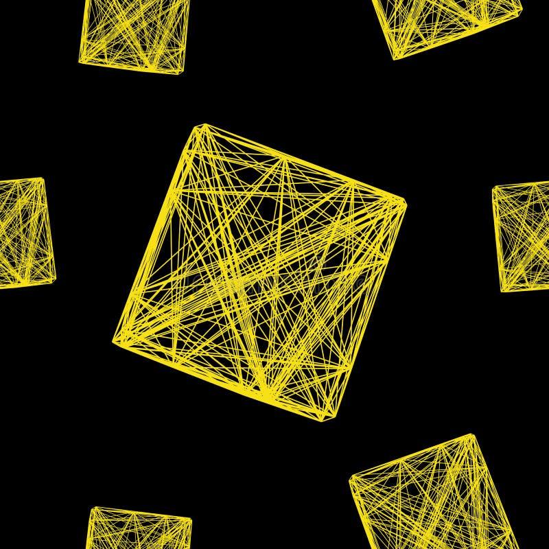 被交织的线无缝的样式3D立方体染黄,网络,例证 皇族释放例证