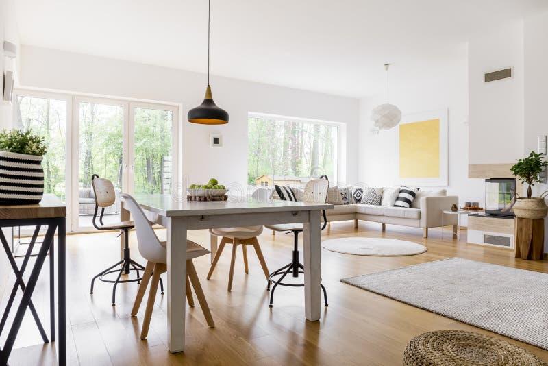 被仿造的地毯在客厅 免版税库存照片