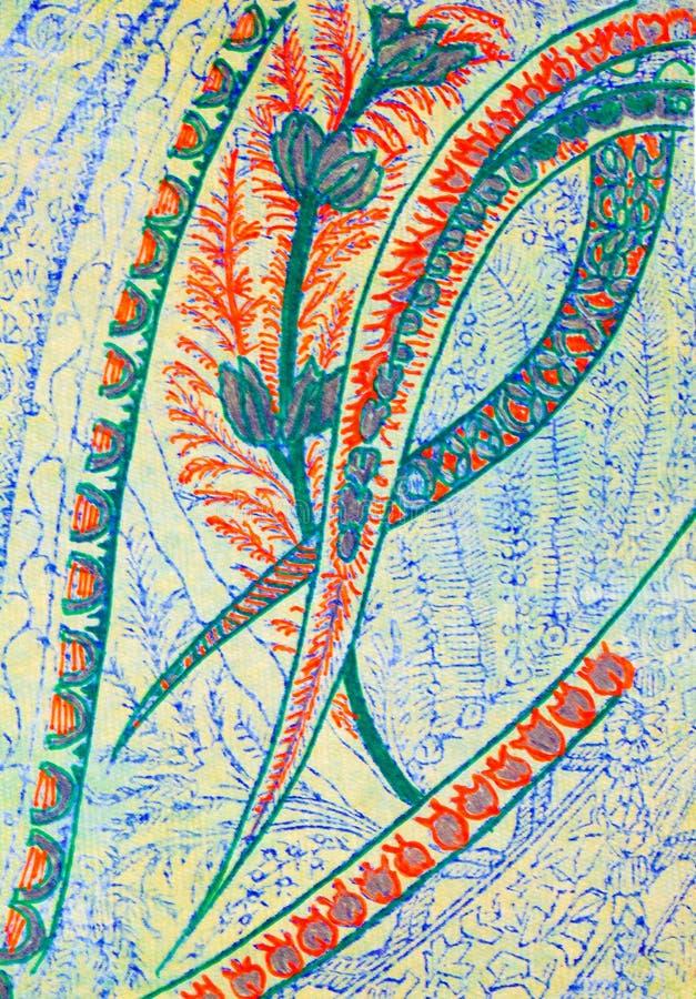 被仿造的曲线和花一张华丽抽象图画  库存例证