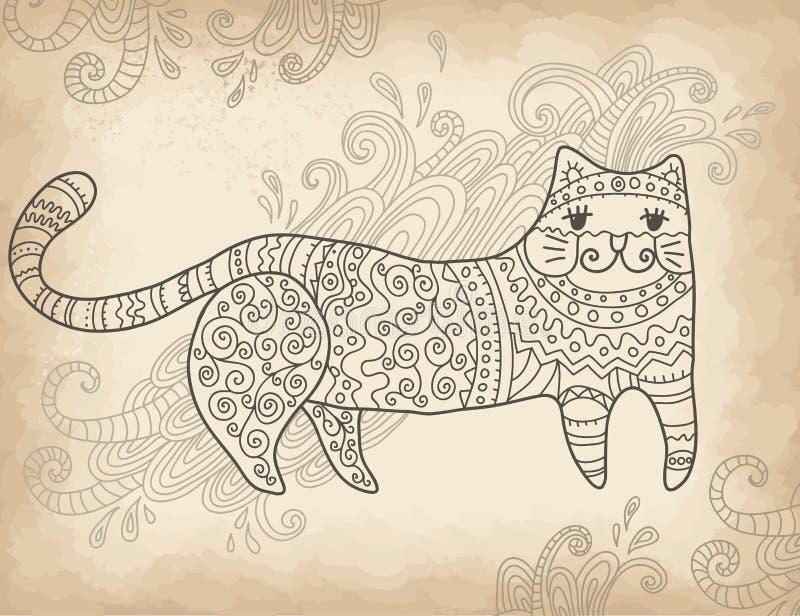 被仿造的风格化猫 向量例证
