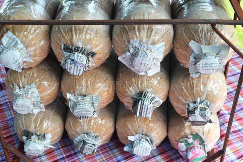 被传染的蘑菇袋子 免版税库存照片