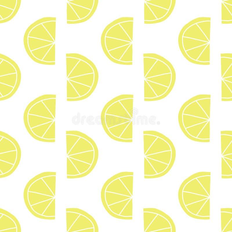 被传统化的柠檬切无缝的传染媒介样式 在减速火箭的样式的当代果子设计 在白色背景的黄色柠檬 手 皇族释放例证