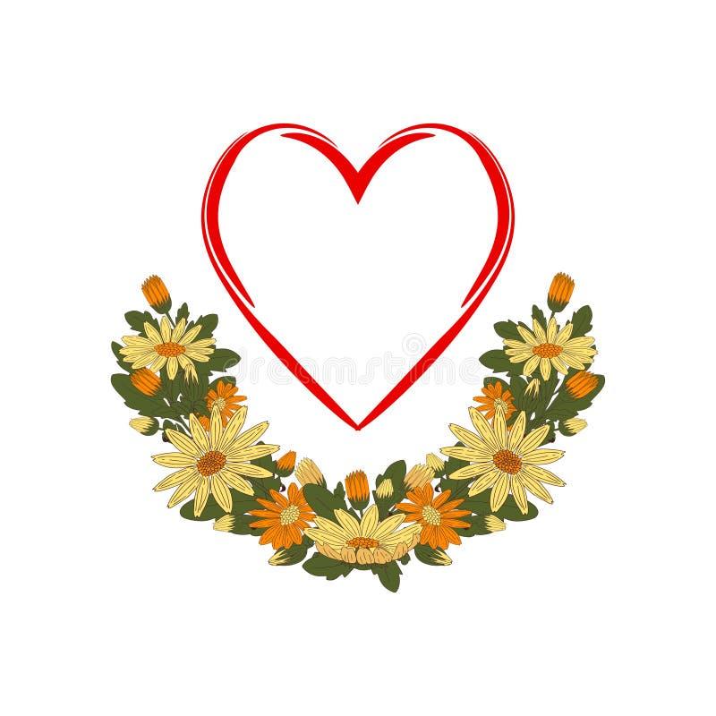 被传统化的红心用一本多彩多姿的花诗歌选装饰了 向量例证