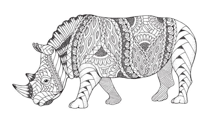 被传统化的犀牛动物zentangle 犀牛传染媒介,例证 皇族释放例证