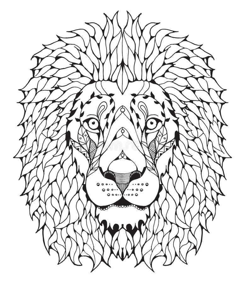 被传统化的狮子顶头zentangle 库存例证