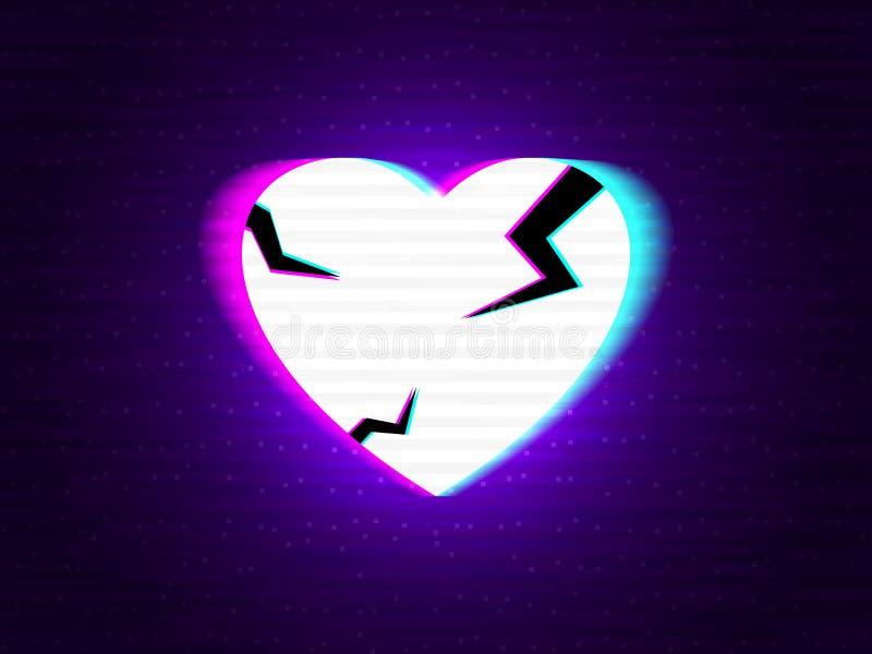 被伤的小故障心 在现代背景的被变形的霓虹爱 与两次曝光的Glitched立体声形状 摘要 向量例证