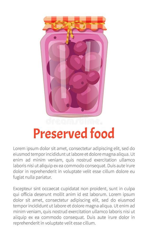 被保存的食物海报装在瓶子的紫色李子于罐中 向量例证