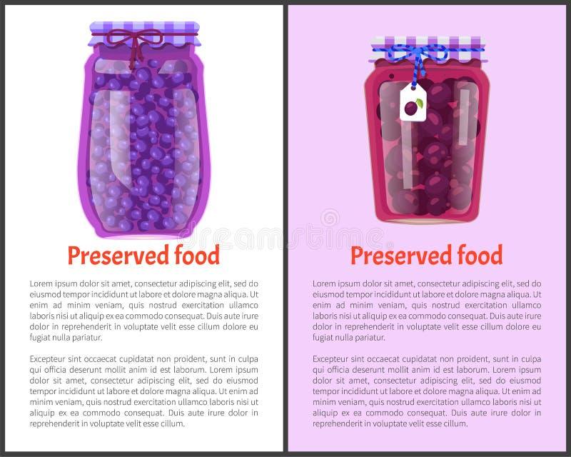 被保存的食物海报装李子和蓝莓于罐中 库存例证