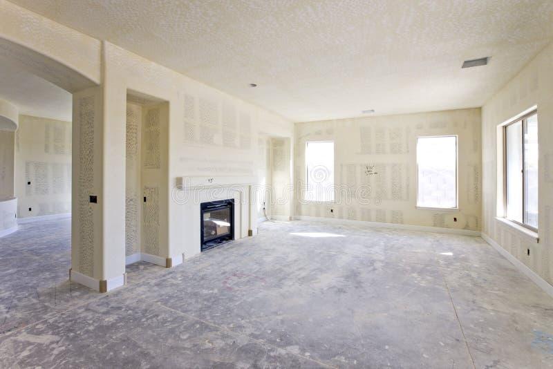 被修建的干式墙房子最近 库存图片
