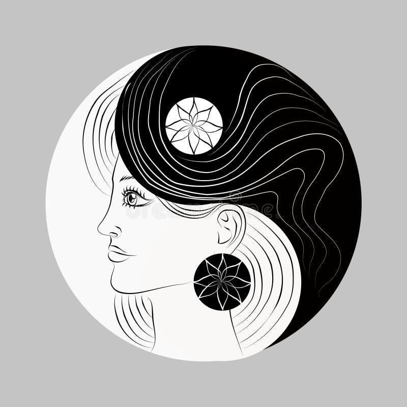 被修改的Yin和杨符号。 妇女纵向。 徽标 库存图片