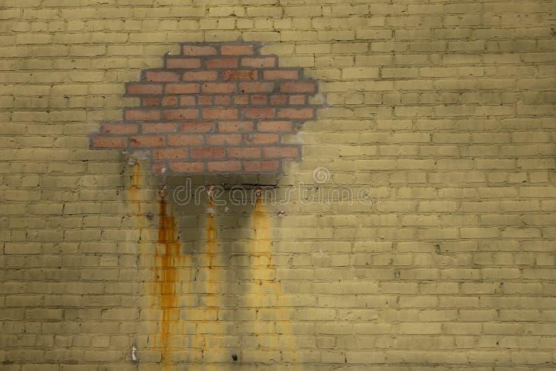 被修补的砖墙 免版税图库摄影