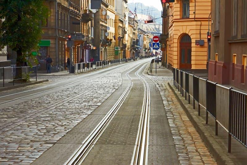 被修补的lviv老路乌克兰 免版税库存照片
