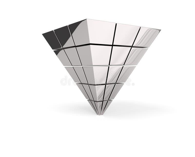 被倒置的银色金字塔 向量例证