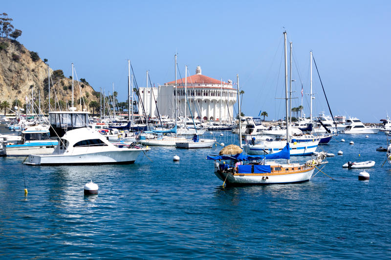 被停泊的游艇圣诞老人・ Catalina海岛 库存图片