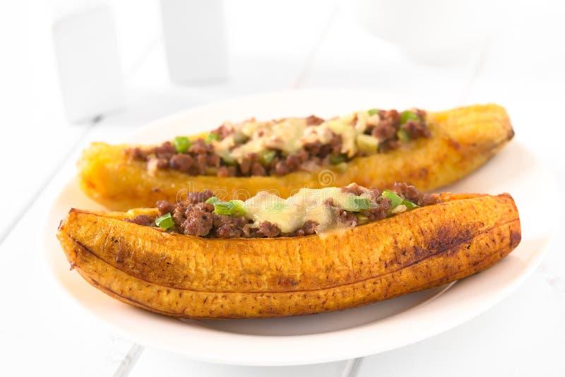 被充塞的被烘烤的大蕉 免版税库存图片