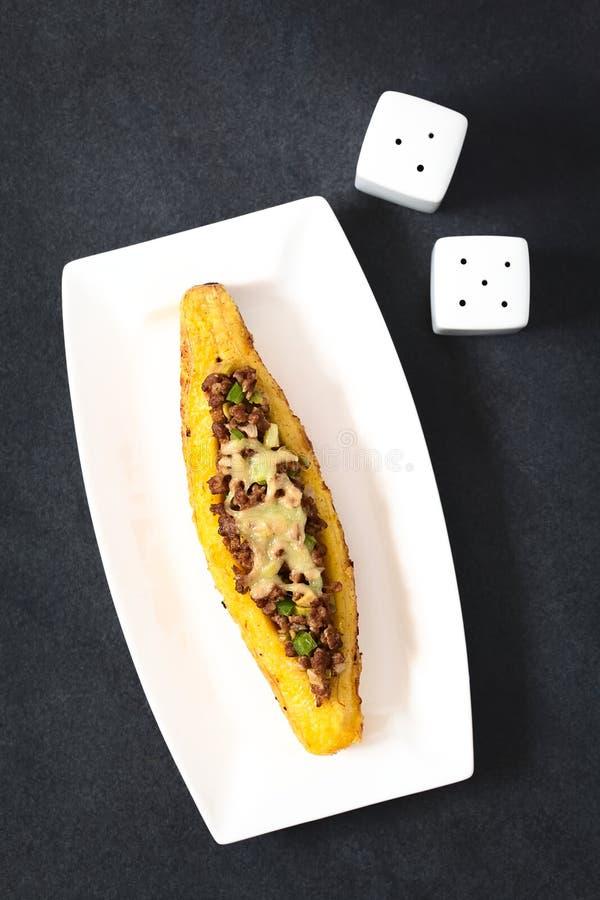 被充塞的被烘烤的成熟大蕉 库存图片