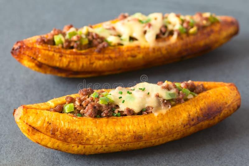 被充塞的被烘烤的成熟大蕉 库存照片