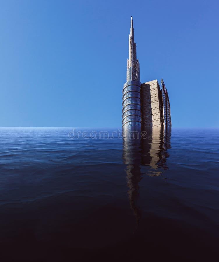 被充斥的摩天大楼的数字操作有拷贝空间的 免版税库存图片