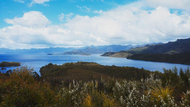 被充斥的湖pedder的宽看法在塔斯马尼亚 库存照片